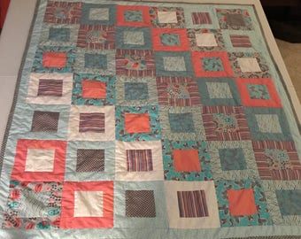 Teal Grey Square in a Square Lap Quilt