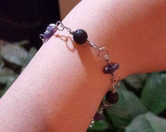 Amethyst Natural Stone Chip Lava Stone Wire Wrapped Link Bracelet Essential Oil Diffuser
