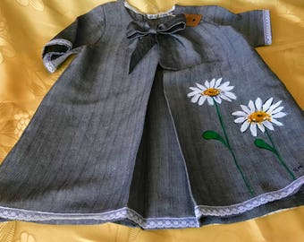 Baby girl 6/7 years old. In cotton/silk/linen. Entirely done and hand painted