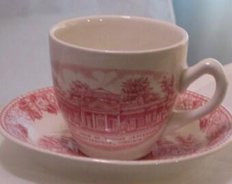 Antique Monticello House of Thomas Jefferson Porcelain Teacup & Saucer Set