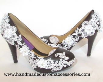 Black and white lace low heels/ wedding/ prom/ party heels