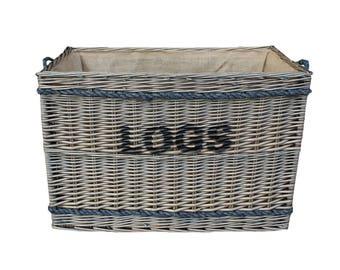 Large Wicker Rope Handle Log Basket