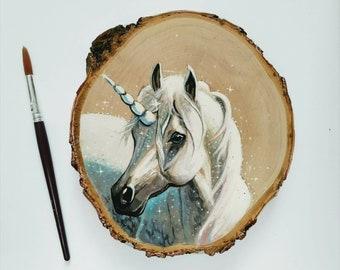 Unicorn - painting on wood slice, ready to hang