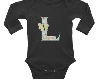 "Initial ""L"" Infant Long Sleeve Bodysuit"