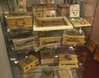 Hand crafted personalized wooden boxes