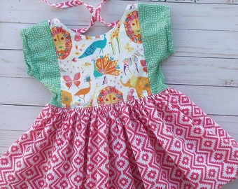 Colorful girl's summer dress or top, girls dress, toddler outfit, toddler spring dress, twirl dress, twirl top, girl's animal dress