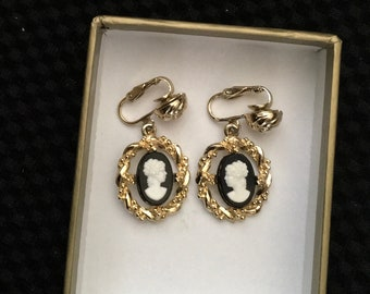 Vintage Cameo Dangle Clip On Earrings Costume Jewelry