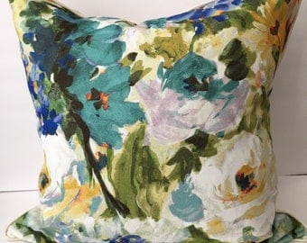 """Watercolor Floral Blue Green Cream 22"""" Pillow with Insert"""