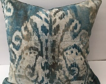 Blue Gray Ikat Decorator Throw Pillow 18 Inch Square Hand Sewn with Insert
