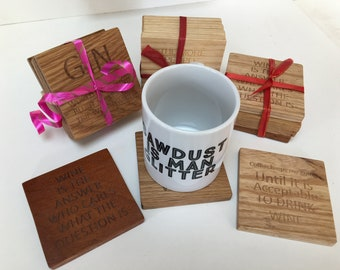 Solid Hardwood Coasters available in Oak,Ash, Cherry