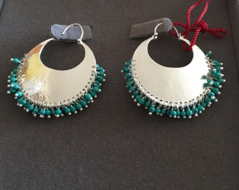 New Silver Hoops with Touquise Beads