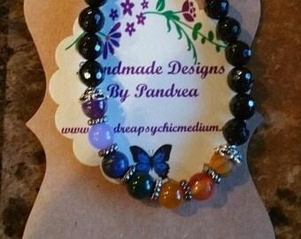 Handmade Chakra Bracelet/ w Faceted Black Onyx