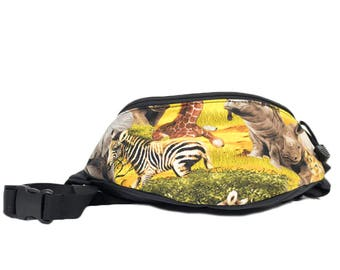 Fanny pack African Safari fabric - Cute  - Hip Bag for travel, sport, and hiking