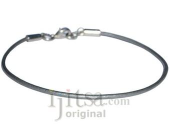 2mm silver leather bracelet or anklet, metal clasp