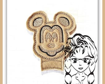 WAFFLE Mr Mouse Center (Add On ~ 1 Pc) Mr Miss Mouse Ears Headband ~ In the Hoop ~ Downloadable DiGiTaL Machine Embroidery Design by Carrie
