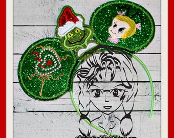 MEAN One Green & CiNDY Inspired (3 Piece) Mr Miss Mouse Ears Headband ~ In the Hoop ~ Downloadable DiGiTaL Machine Emb Design by Carrie