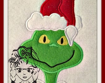 Green MEAN character Christmas Applique - how cute for Santa Christmas Photo ~ Downloadable DiGiTaL Machine Embroidery Design by Carrie