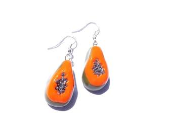 Earrings -- PAPAYA SWEET, miniature papaya earrings, by The Sausage