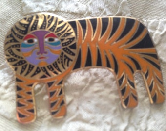 TIGER CAT Brooch Laurel Burch Pin Cloisonné Art Jewelry RARE Piece Signed