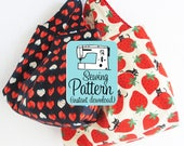Grocery Bag PDF Sewing Pattern | Fast and easy beginner friendly sewing project to make grocery shopping tote bags in three sizes.