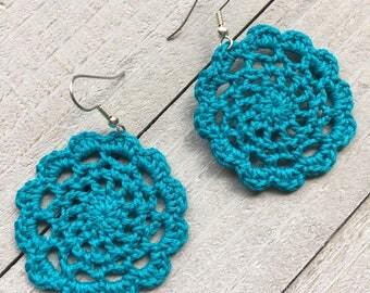 Crochet Earrings Bohmemian Lace Filigree Handmade Boho Chic Earrings in Peacock Blue Boho Gift for Her Lightweight Earrings