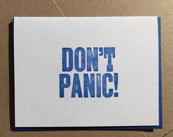 DON'T PANIC letterpress card with blue envelope