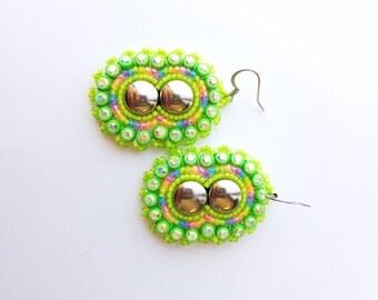 Green Native American Earrings