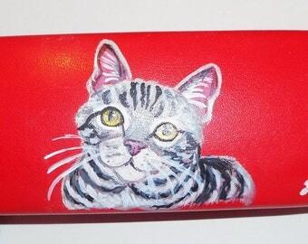 American Shorthair Cat  Hand Painted Eyeglass Case