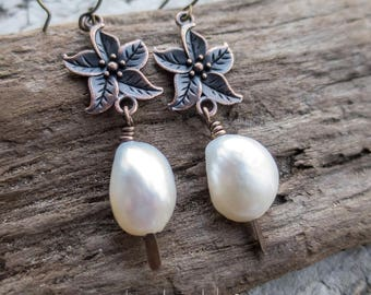 AA Freshwater Pearl Earrings || Copper Flower Earrings | Boho Hippie Chick | Flower Child | Bride | Woodland Wedding l Earrings Under 20
