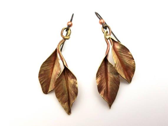 Ivy leaf earrings, handforged in brass