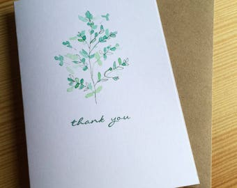 Wildflower Watercolor Thank You Note Cards - Wild Grass Cards - Kentucky Blue Grass Cards - Botanical Note Cards - Set of 6