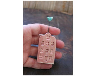 Ceramic Miniature Pink House with Turquoise Bird - Ready to Ship for !- Mother's Day
