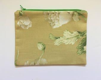 Linen Fabric clutch bag, natural Fabric, purse organizer, Floral Zipper Pouch,  travel accessory, cord cozy, fabric bag, linen blend