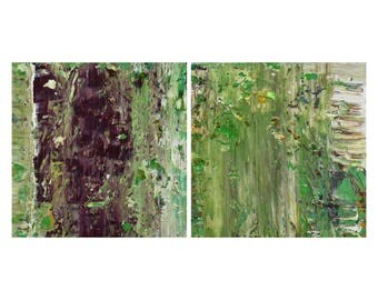 Set of 2 Small Abstract Paintings, Aubergine + Green Haze, Textured Acrylic, Modern Abstract Diptych, Minimalist Paintings, Reductive Art