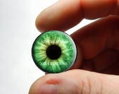 Glass Eyes - Green Zombie Human Doll Taxidermy Eyes Handmade Glass Cabochons   - Pair or Single - You Choose Size