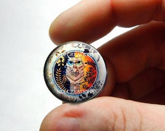 Retro Glass Owl Cabochon for Jewelry and Pendant Making - Design O3