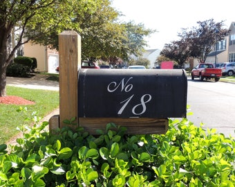 ELEGANT Silver and White Polka Dot French Vinyl Decal Permanent Mailbox Numbers Free Domestic Shipping