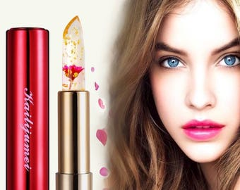 Kailijumei Flower RED Lipstick with Gold Flakes REAL flower Holiday Gift idea Sale Boho Gypsy Lip Gloss Jelly Lipstick RED Sale