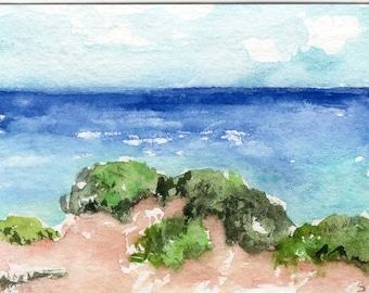 ACEO Aruba Original Watercolor Painting, Sand Dunes at Arikok National Park Aruba Seascape