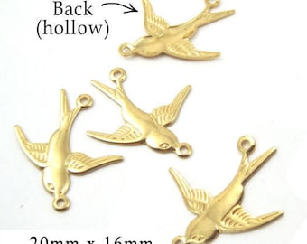 Four (4) Brass Sparrow Charms - Golden Raw Brass Birds - Connector Links - 20x16mm Nature Charms - Jewelry Supply - TWO Pairs