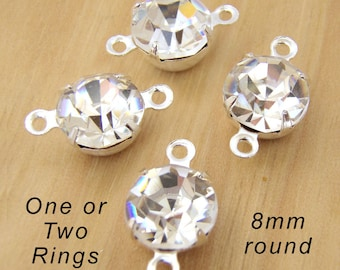 TWO Pairs - Crystal Glass Rhinestone Beads - 8mm Round - Silver or Brass Settings - Bridal Wedding Jewels - Jewelry Supply