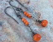 CARNELIAN Earrings, sterling silver earrings, orange gemstone jewelry, handmade, artisan, Angry Hair Jewelry