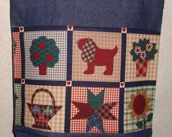 New Handmade Large Denim tote Bag Quilt Squares Print Theme