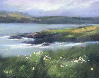 IRELAND Seashore Wildflowers plein air version 2  Landscape Original Pastel Painting Karen Margulis 5x7