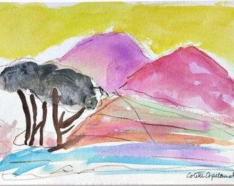 Original watercolor sketch on paper, desert landscape