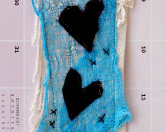 Mini art quilt, dark purple vevet hearts, dyed cheesecloth