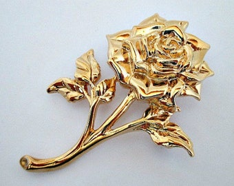 Avon Rose Pin Brooch Pin with Box, Avon Seasonal Bouquets Rose Pin, Vintage Avon Jewelry, Gold Tone Pin, Flower Gardener Gift, Flower Pin