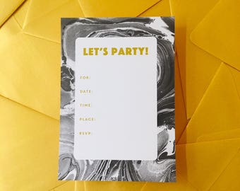 Black and Gold marbled Invitations
