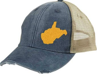 Distressed Snapback Trucker Hat -  West Virginia off-center state pride hat - Many Colors available