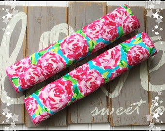 Boho rose seat belt covers *** Lilly Plitzer inspired***